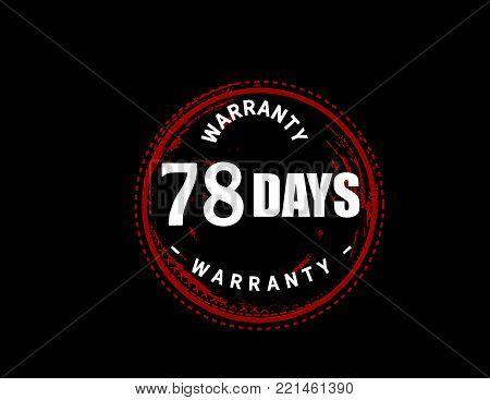 78 days warranty icon vintage rubber stamp guarantee
