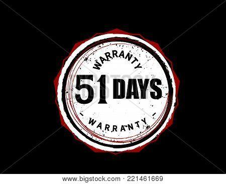51 days warranty icon vintage rubber stamp guarantee