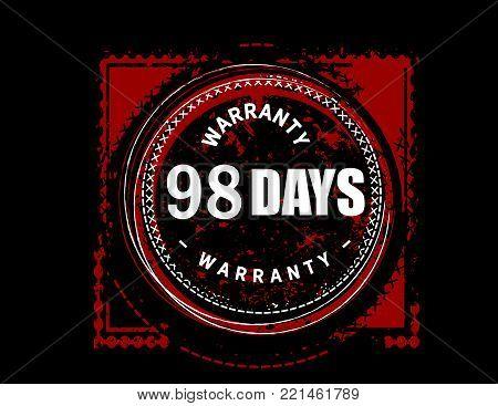 98 days warranty icon vintage rubber stamp guarantee