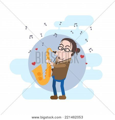 Male Saxophonist Simple Vector Character with His Tenor Saxophone.