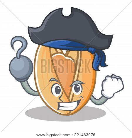 Pirate pistachio nut character cartoon vector illustration
