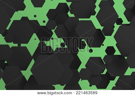 White Hexagons Of Random Size On Green Background
