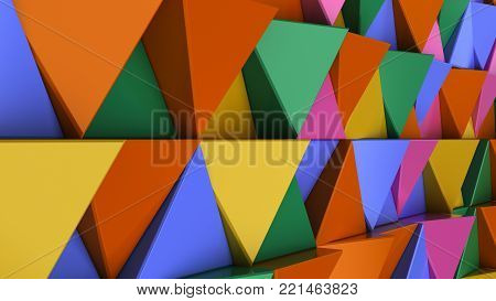 Pattern Of Green, Yellow, Brown And Blue Triangle Prisms