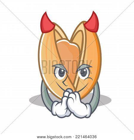 Devil pistachio nut mascot cartoon vector illustration