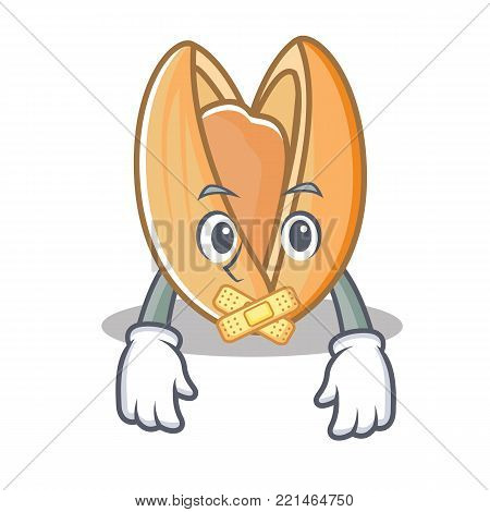 Silent pistachio nut mascot cartoon vector illustration