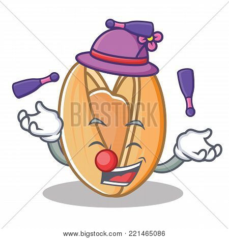 Juggling pistachio nut mascot cartoon vector illustration