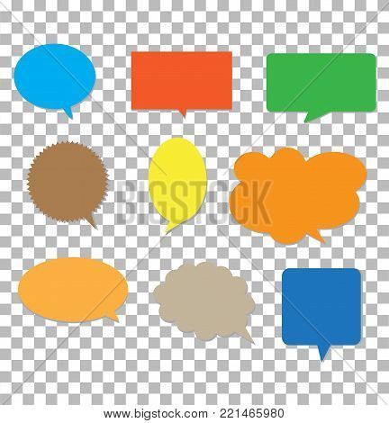 speech bubbles on transparent background. blank empty colors transparent. set of comic speech bubbles. speech bubbles symbol.