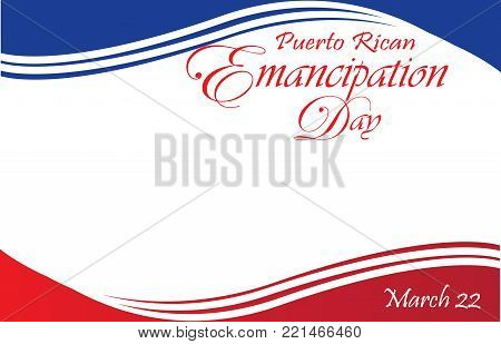 Puerto Rican Emancipation Day Postcard Template with Flag