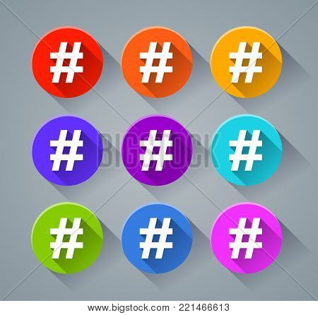 Illustration of hashtag icons with various colors