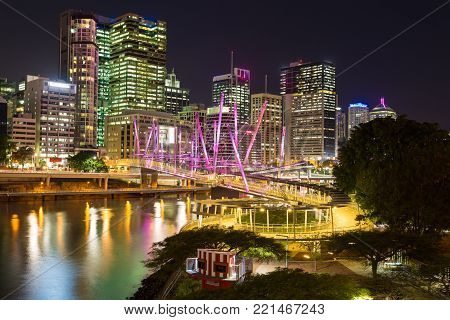Brisbane at night from William Jolly Bridge in Milton,Brisbane,QLD,Australia