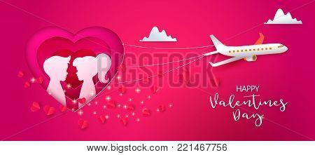 Pink Male and female silhouette in layered design heart and fly airplane. Happy Valentines day web banner. Boy and Girl Faces profile in paper cut out art style. Couple. Origami Love. February Holiday