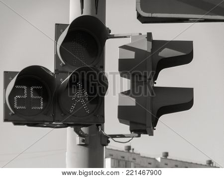 Traffic light. Traffic light on the street. Pedestrian traffic light.