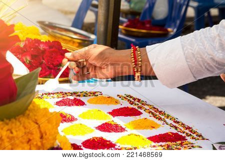 Blurred The Ceremony Of Brahmins With God Genesha Of India.