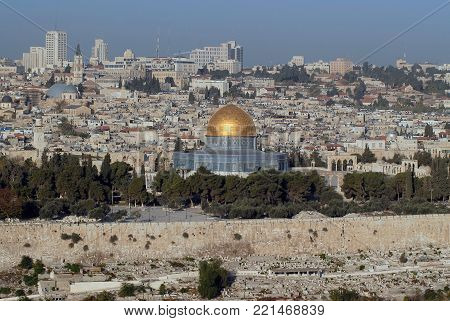 View of the Old Jerusalem, in the middle of the Temple Dome of the Rock, Kubbat al-Sahra, the most famous Islamic temple on the Temple Mount, Israel.