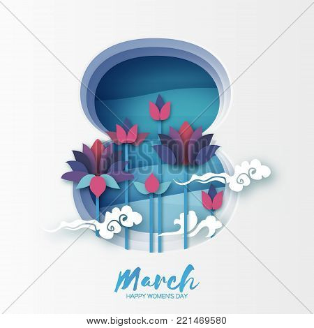 Lotus Floral Greeting card in paper cut style. 8 March layered frame. Happy Women's Mother's Day. Origami Water lily flower holiday. Eight number. Cloud. Spring blossom. Seasonal holiday. Vector illustration