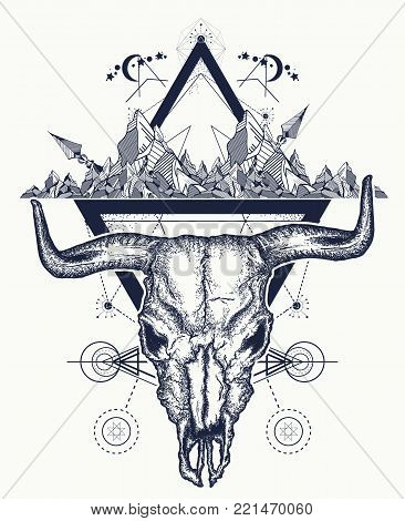 Bull skull and mountains tattoo. Native American bull skull symbol of secret knowledge, Shamanism. Soul of prairies tattoo and t-shirt design