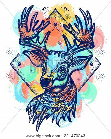 Deer color tattoo and t-shirt design. Christmas reindeer. Symbol of winter, new year, Christmas. Beautiful reindeer portrait water color splashes tattoo art