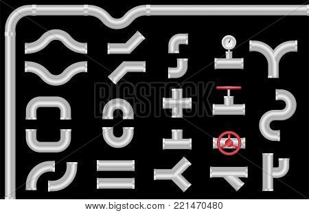 Metal pipe connectors and valve. Plumbing construction. Isolated vector set