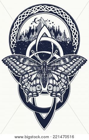 Celtic knot and butterfly tattoo. Mountain, forest, symbol travel, symmetry, tourism t-shirt design. Celtic art and beautiful swallowtail tattoo in ethnic style poster