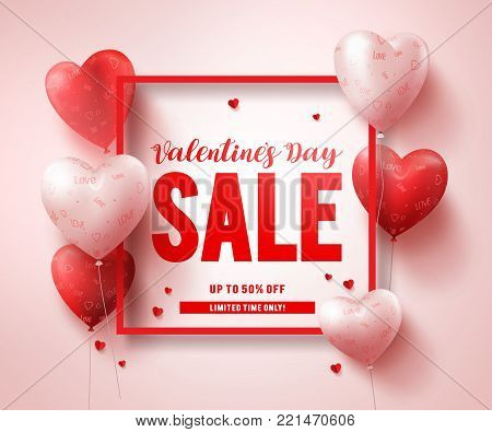 Valentines day sale text banner design with red heart shape balloons and elements in a boarder for valentines day seasonal discount promotion. Vector illustration.