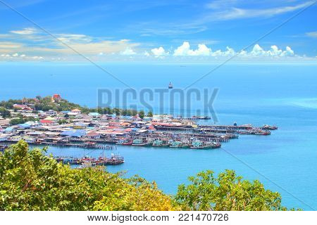 Top view of blue seascape at Chonburi, Gulf of Thailand.