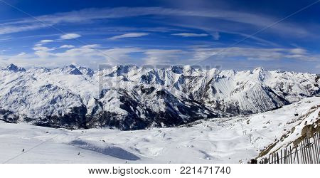 Beautiful winter panorama of the Alps.Haute Savoy, French Alps.