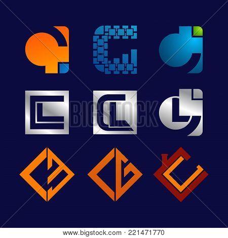 C CL CB CG letter gradient set Initial alphabet Logo design Template elements