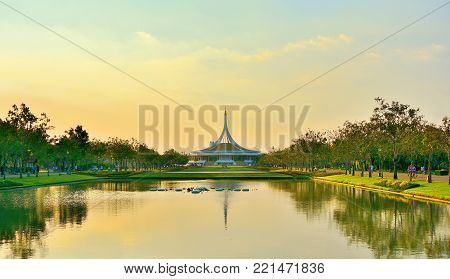 Beautiful public parkland Suan Luang R.9 in Bangkok Thailand,beautiful of reflection pavilion and tree