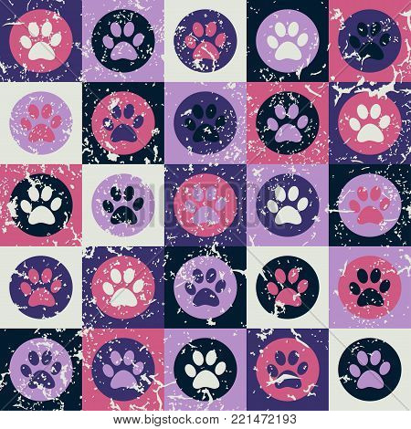 Vector seamless pattern with cat or dog footprints. Cute colorful paws. Animal concept. Foot steps. Veterinary. Vector.