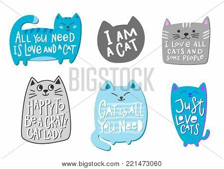 Happy to be a crazy love cat lady people is all you need quote lettering. Calligraphy inspiration graphic design typography element. Hand written postcard. Cute simple vector sign.