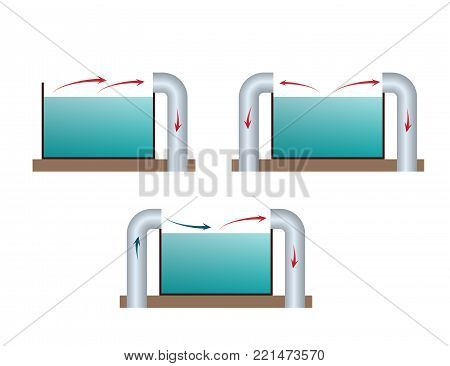 Lateral suctions ventilation. HVAC system. Industrial construction. Galvanic and chemical shops to remove hazardous emissions from in baths. Vector illustration.