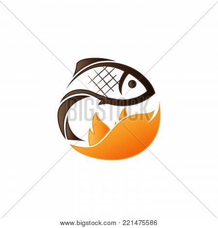 Creative fish logo and grilled fish silhouette. Vector illustration. Fish logos used for advertising fish dishes, fish market, barbecue bar, bistro or restaurant menu.