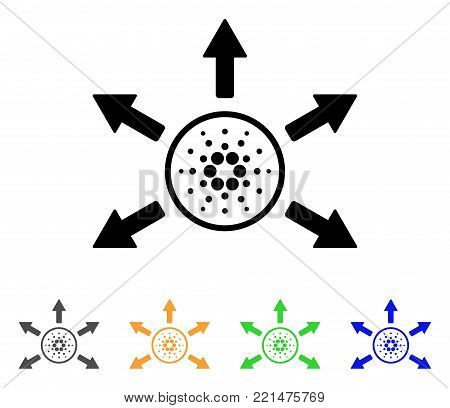 Cardano Distribution Arrows icon. Vector illustration style is a flat iconic cardano distribution arrows black symbol with grey, yellow, green, blue color variants.