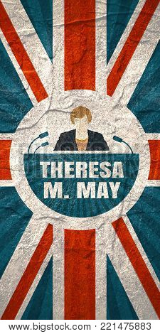 United Kingdom - April, 2017: An illustration of a woman icon and the Prime Minister of the United Kingdom Theresa May name. Flag of the Great Britain on backdrop. Grunge texture
