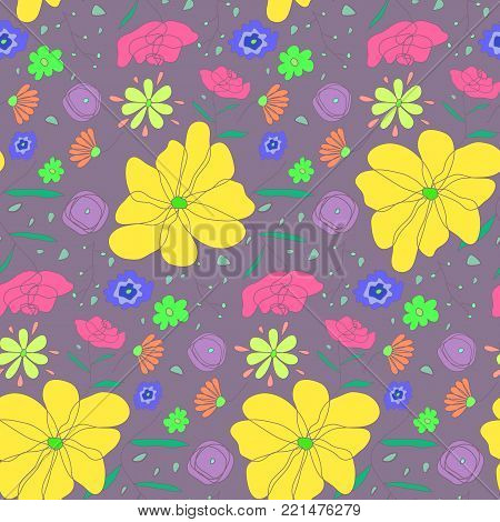 Cartoon cute sketch seamless pattern with colorful flowers. Doodle floral texture with big yellow flower on pale violet background for textile, bedclothing, wrapping paper, wallpaper, cover, underwear