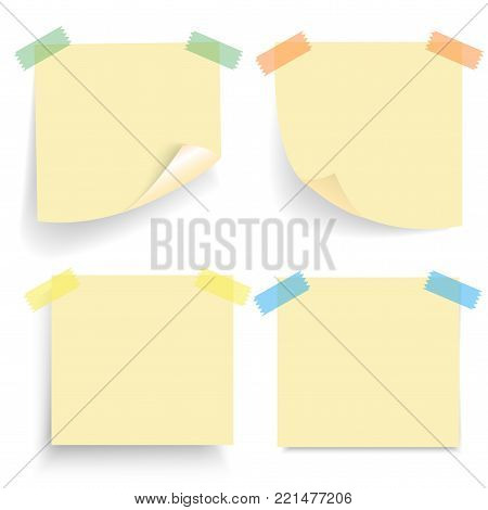 Set of Office paper sheets or sticky stickers with shadow isolated on a transparent background. Empty yellow note template for your design. Vector illustration