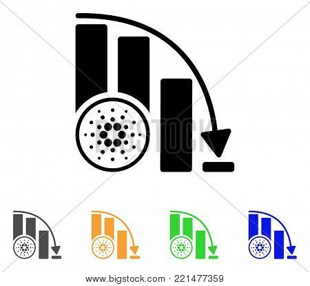 Cardano Fall Down Chart icon. Vector illustration style is a flat iconic cardano fall down chart black symbol with gray, yellow, green, blue color versions. Designed for web and software interfaces.
