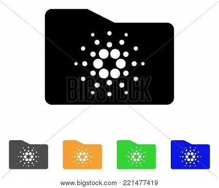 Cardano Folder icon. Vector illustration style is a flat iconic cardano folder black symbol with grey, yellow, green, blue color variants. Designed for web and software interfaces.