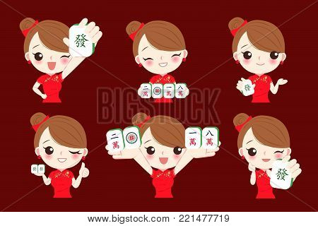 cartoon woman show mahjong to you with rich and ten thousand in chinese word