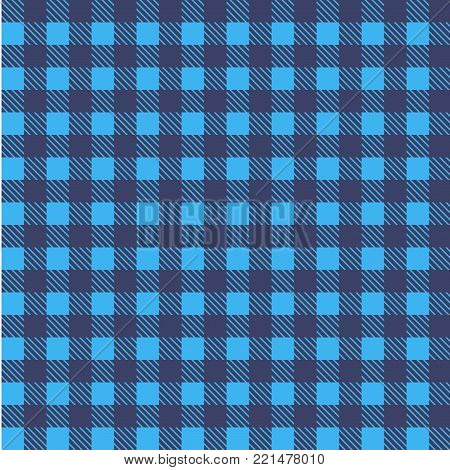 Blue  seamless tablecloth Vector. Airy Blue and Riverside color. Seamless traditional tablecloth pattern Vector. Pastel blue color square pattern Vector. Geometrical simple square pattern.