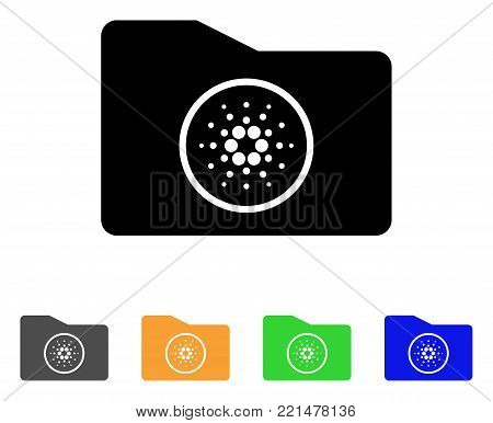 Cardano Wallet icon. Vector illustration style is a flat iconic cardano wallet black symbol with grey, yellow, green, blue color versions. Designed for web and software interfaces.
