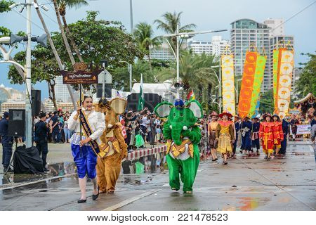 Pattaya, Thailand - November 19, 2017: Pattaya Elephant Village parade marching on the 50th anniversary ASEAN International Fleet Review 2017 to promote tourism in Pattaya city of Thailand