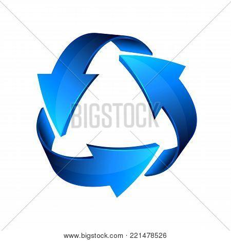 Blue recycle arrows, recycle simbol icon, vector.