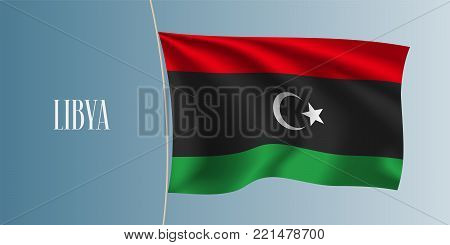 Libya waving flag vector illustration. Three colours stripes elements as a national Libyan symbol