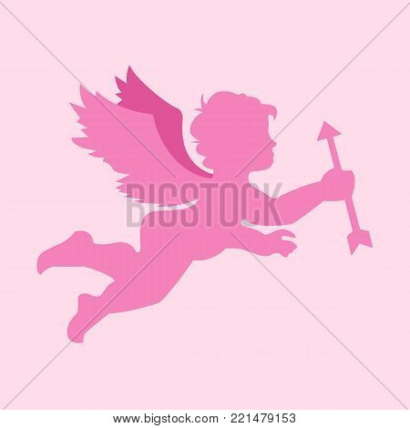 Simple Flying Cupid Silhouette Vector Illustration Graphic Design