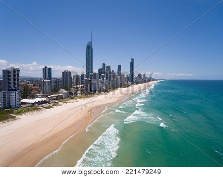 Aerial view of Australian city in Surfers Paradise,Gold Coast,Queensland,Australia