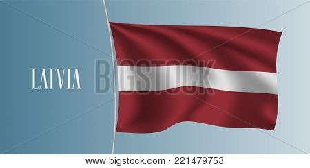 Latvia waving flag vector illustration. Stripes elements as a national Latvian symbol