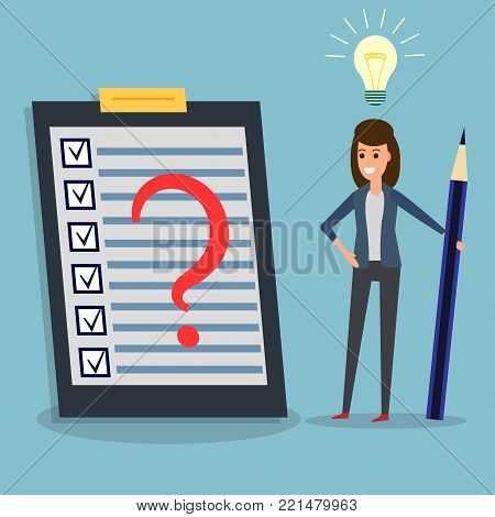 Happy businesswoman holding pen or pencil, looking at checklist, question mark on clipboard, idea bulb. To-do list and planning project with office supplies. Flat design illustration. Business concept