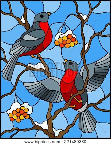 Illustration in stained glass style with a pair of birds bullfinches on snow-covered mountain ash branches with berries on a background of the sky