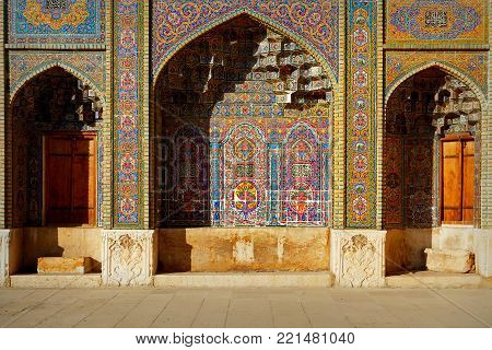 Fragment of a multi-colored Mosque Nasir al Mulk in Shiraz. Iran. Persia.